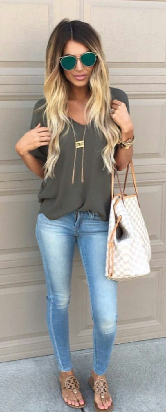 summer outfits Grey Tee + Bleached Skinny Jeans + Gingham