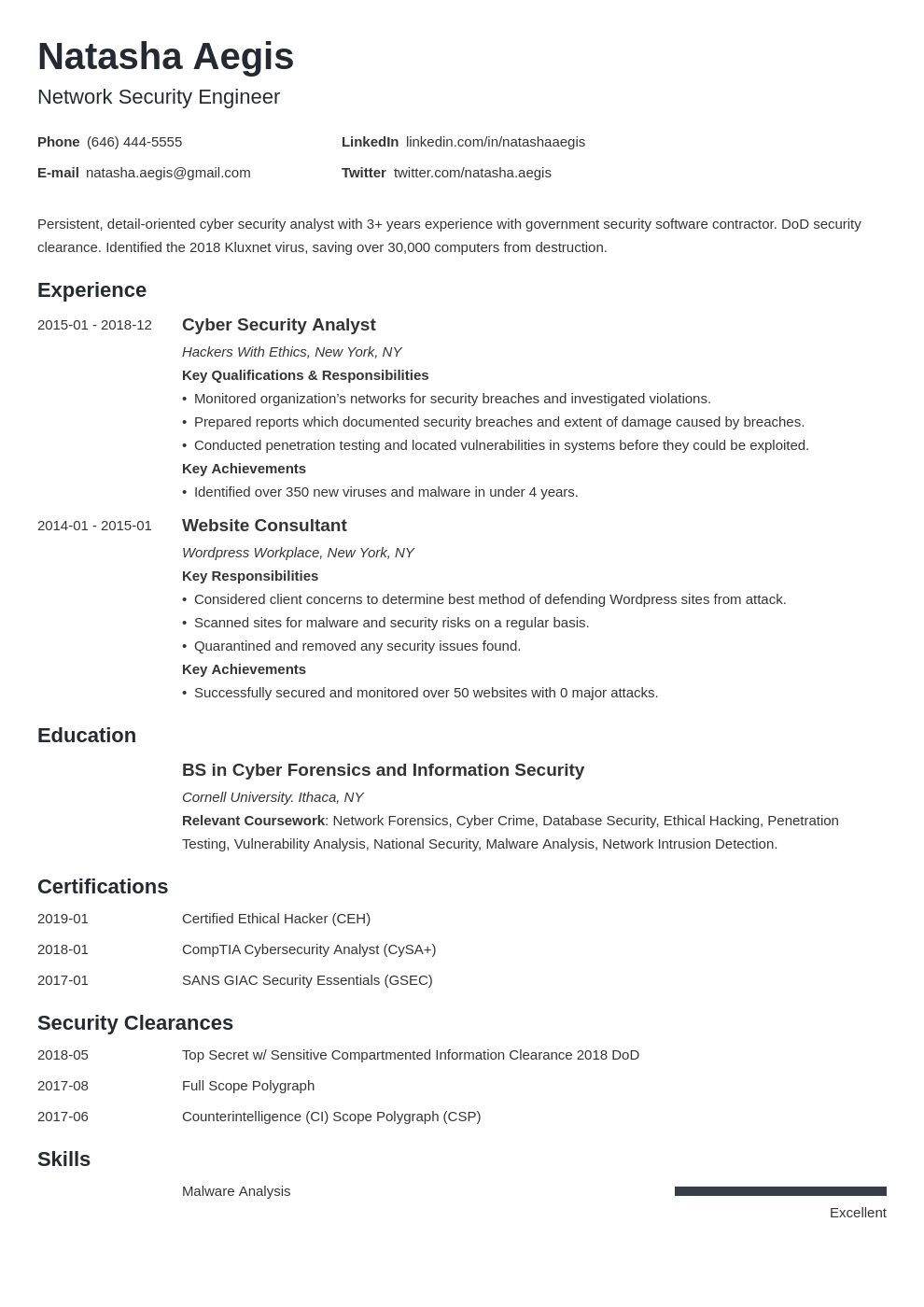 Cyber Security Resume Example Template Minimo Security Resume Job Resume Examples Resume Examples