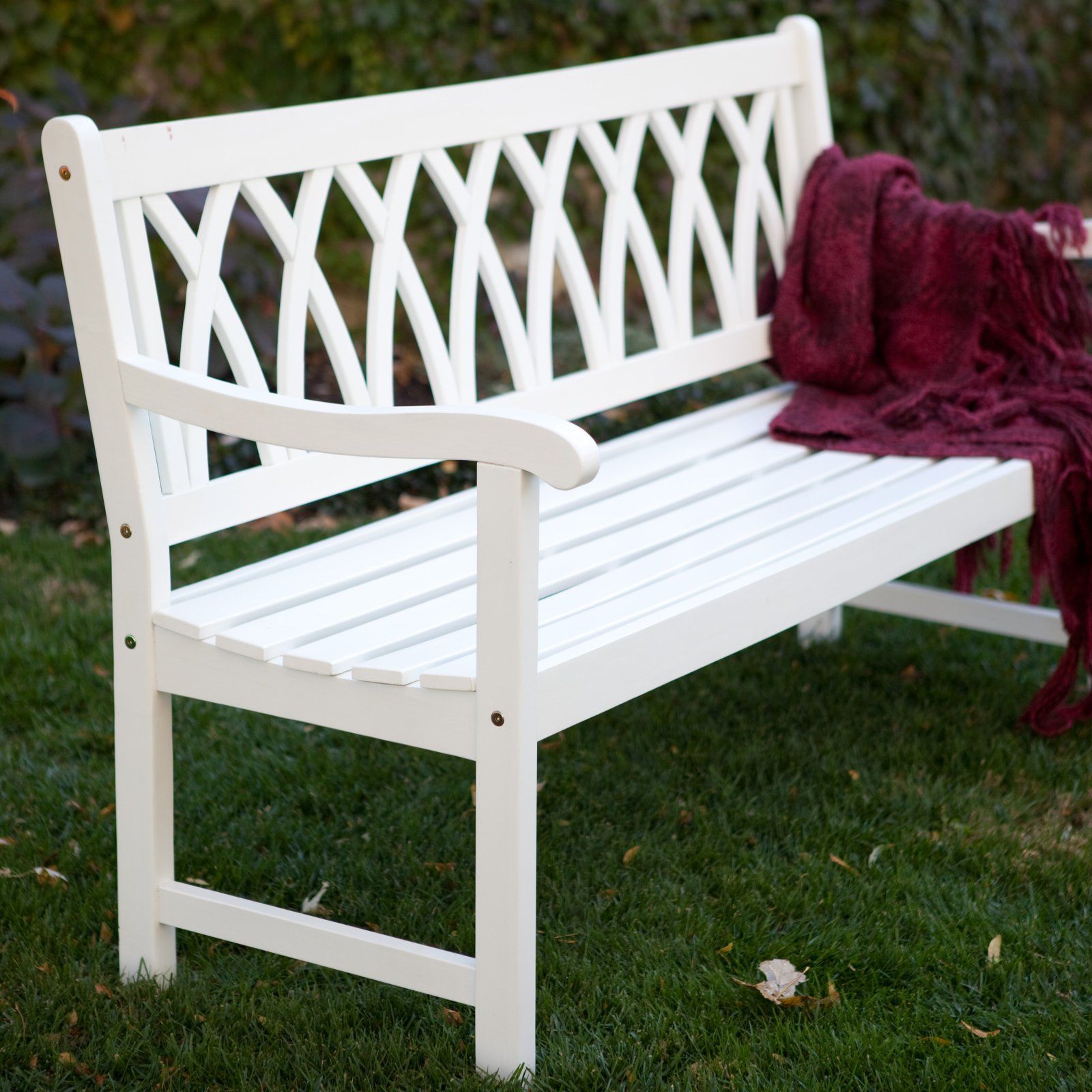 cunningham 5-ft. painted wood garden bench - white | new house