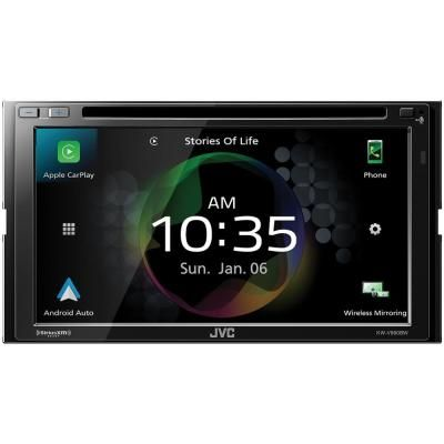 Jvc Mobile 6 8 In Double Din In Dash Dvd Receiver With Bluetooth Apple Carplay Android Auto And Siriusxm Ready Kw V960bw The Home Depot Apple Car Play Digital Multimedia Carplay