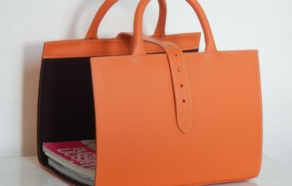 midipy | leather magazine holder.