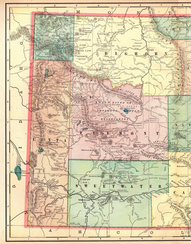 1903 Antique WYOMING Map Vintage Map of Wyoming State Map Wyoming ...