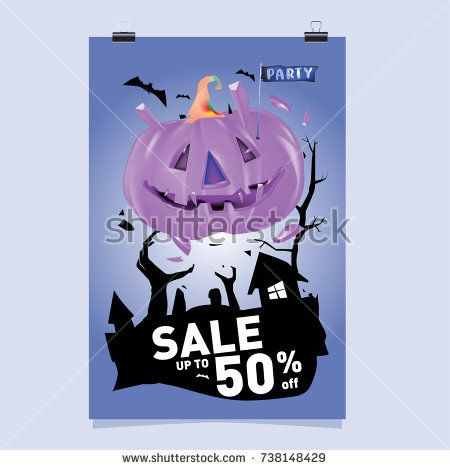 Poster Halloween Sale and Party event Vector Template Halloween - halloween template