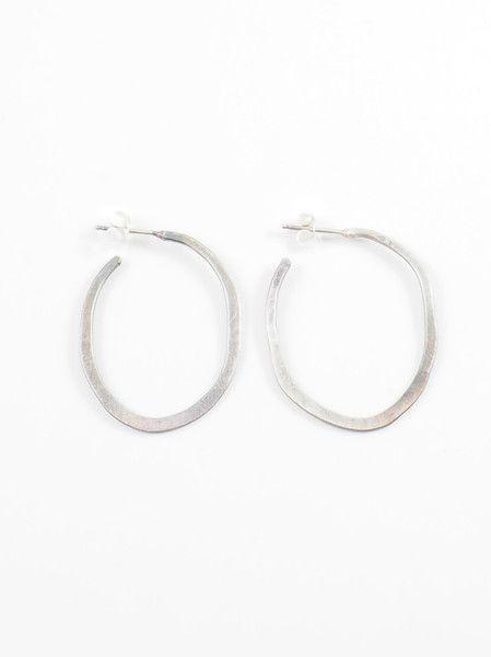 Small Oval Hoops, Sterling Silver Oval Shaped Hand Made Hoop Earrings by 3 Jäg Design by Betty Jäger, $79  | Silver & Stone, shopsilverandstone.com