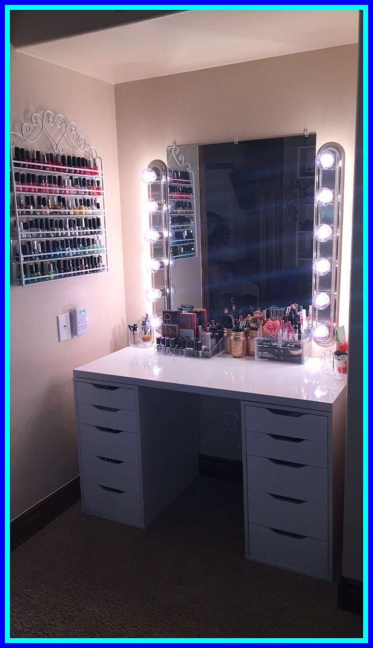 77 Reference Of Makeup Vanity With Drawers On Both Sides In 2020 Diy Vanity Mirror Beauty Room Glam Room