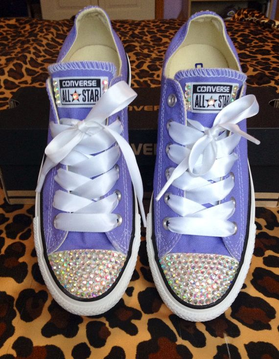 ab8bbdfa7d766 Rhinestone Converse with Ribbon Shoelaces from ConverseCustomized on Etsy