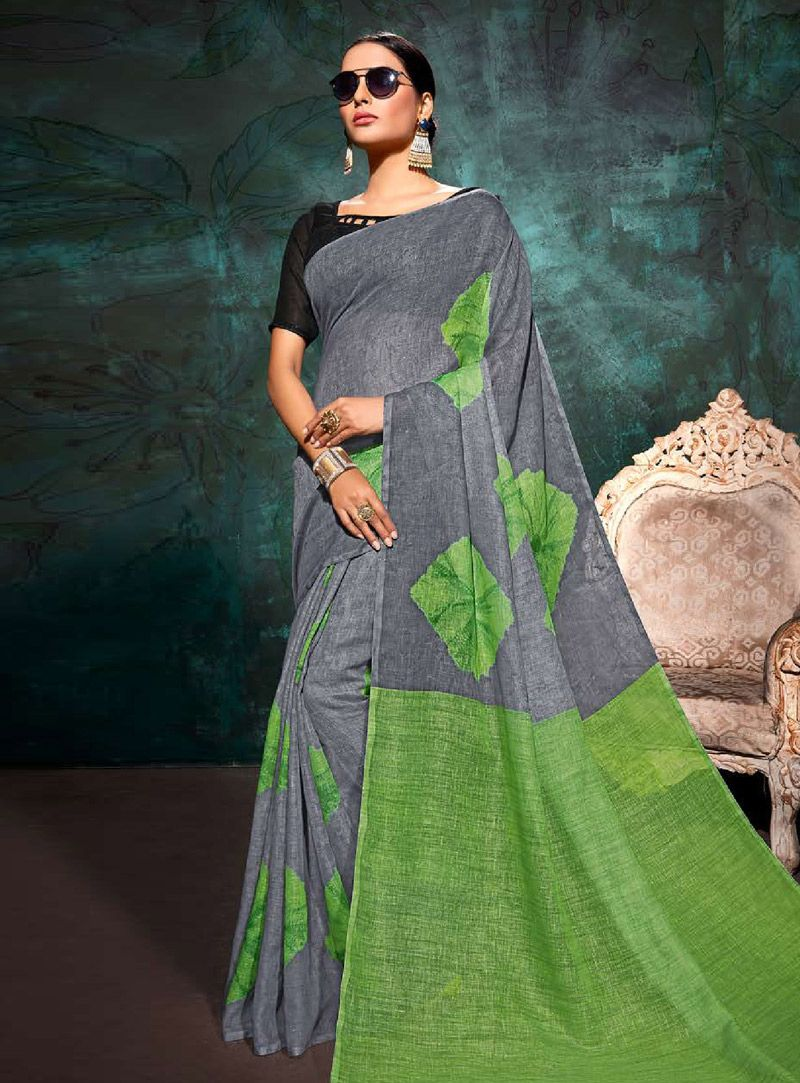 8786e43325dd49 Buy Gray Khadi Saree With Blouse 146711 with blouse online at lowest price  from vast collection of sarees at Indianclothstore.com.