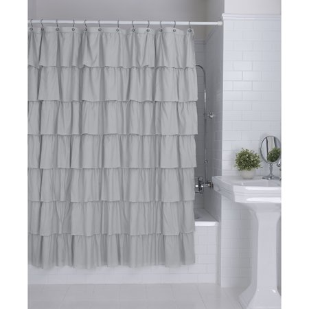 Better Homes Gardens Ruffles Grey Polyester Embellished Layer Fabric Shower Curtain 72 X 72 Walmart Com Ruffle Shower Curtains Girls Shower Curtain Fabric Shower Curtains