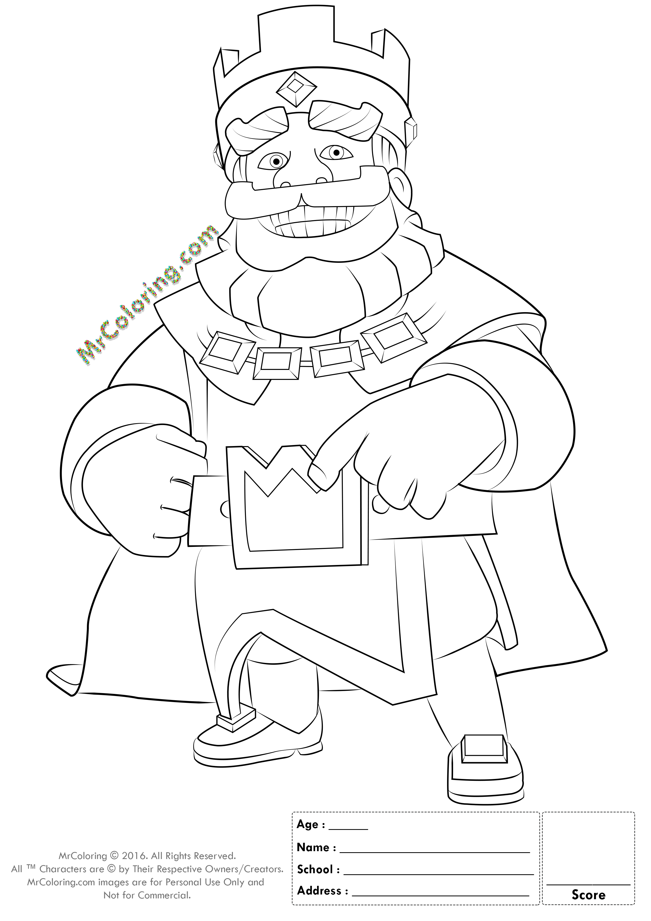 Online name coloring pages - Printable Blue King Clash Royale Online Coloring Pages 2