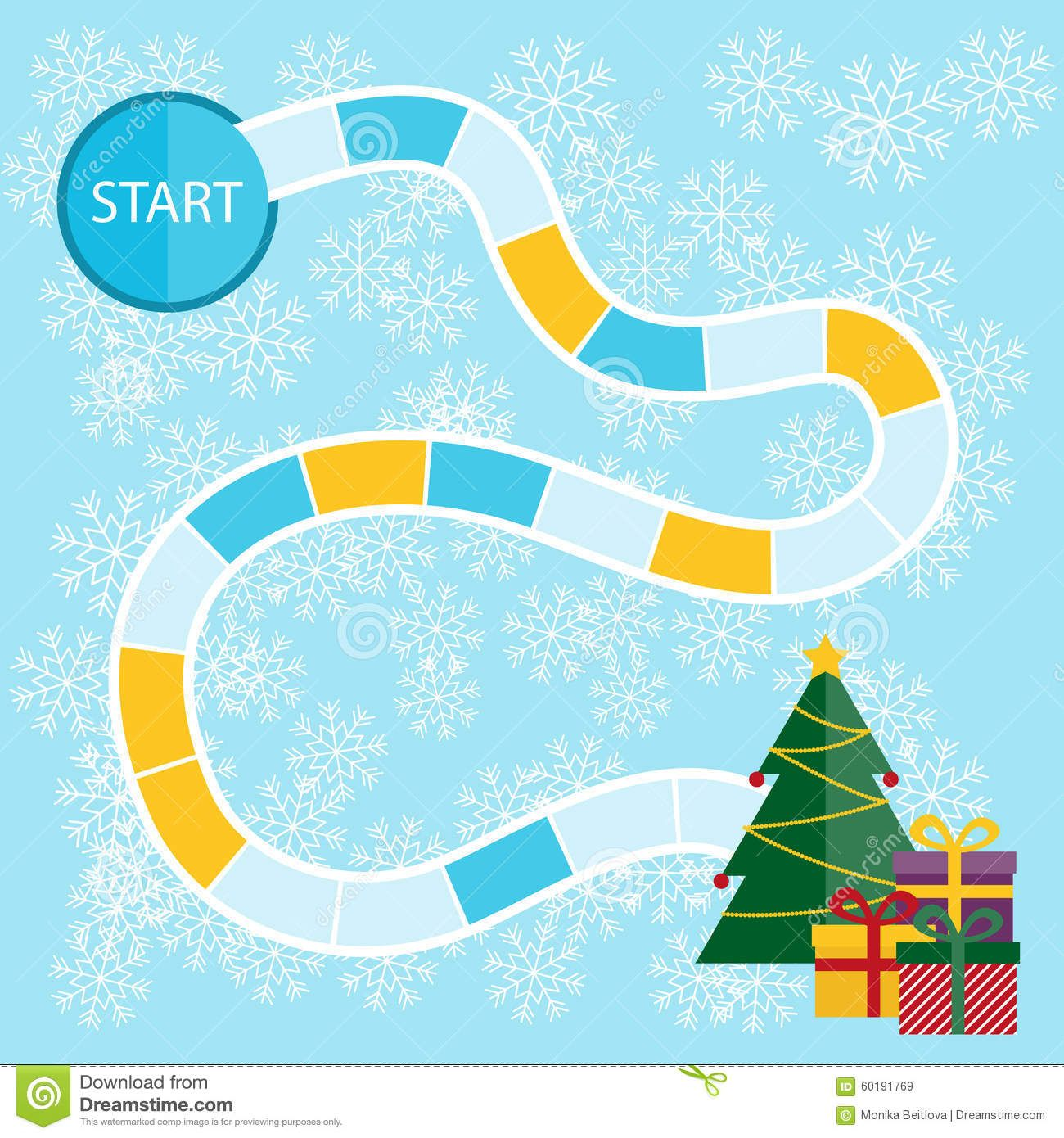 Christmas board game board game pinterest christmas board photo about template for a christmas board game with start and tree with presents in the finish pronofoot35fo Images