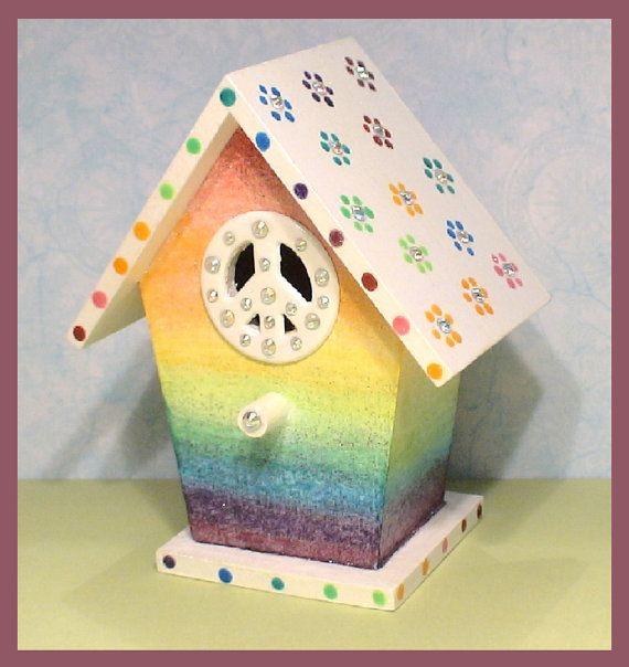 Retro Rainbow Handpainted Birdhouse By Whippinupwhimsey On Etsy 15 99 Hand Painted Birdhouses Bird Houses Painted Hand Painted