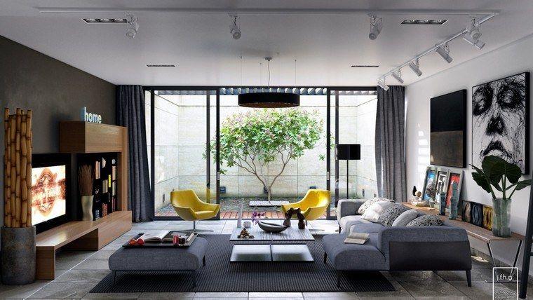 déco design canapé gris fauteuil jaune moderne tapis sol ...
