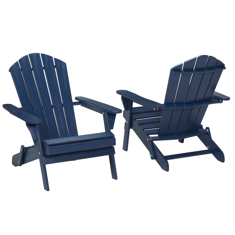 Hampton Bay Midnight Folding Outdoor Adirondack Chair 2 Pack 2 1