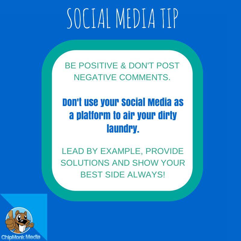 Social Media Tip: Be positive & don't post negative ...