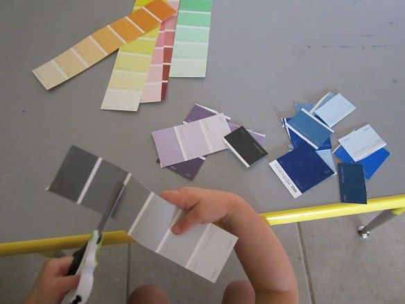 Cutting up paint chart samples is good for fine motor skills - chart samples
