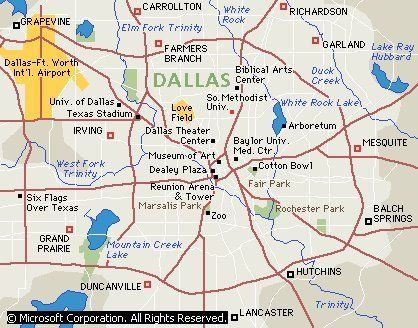 Dallas metro map showing specific areas and tourist attractions