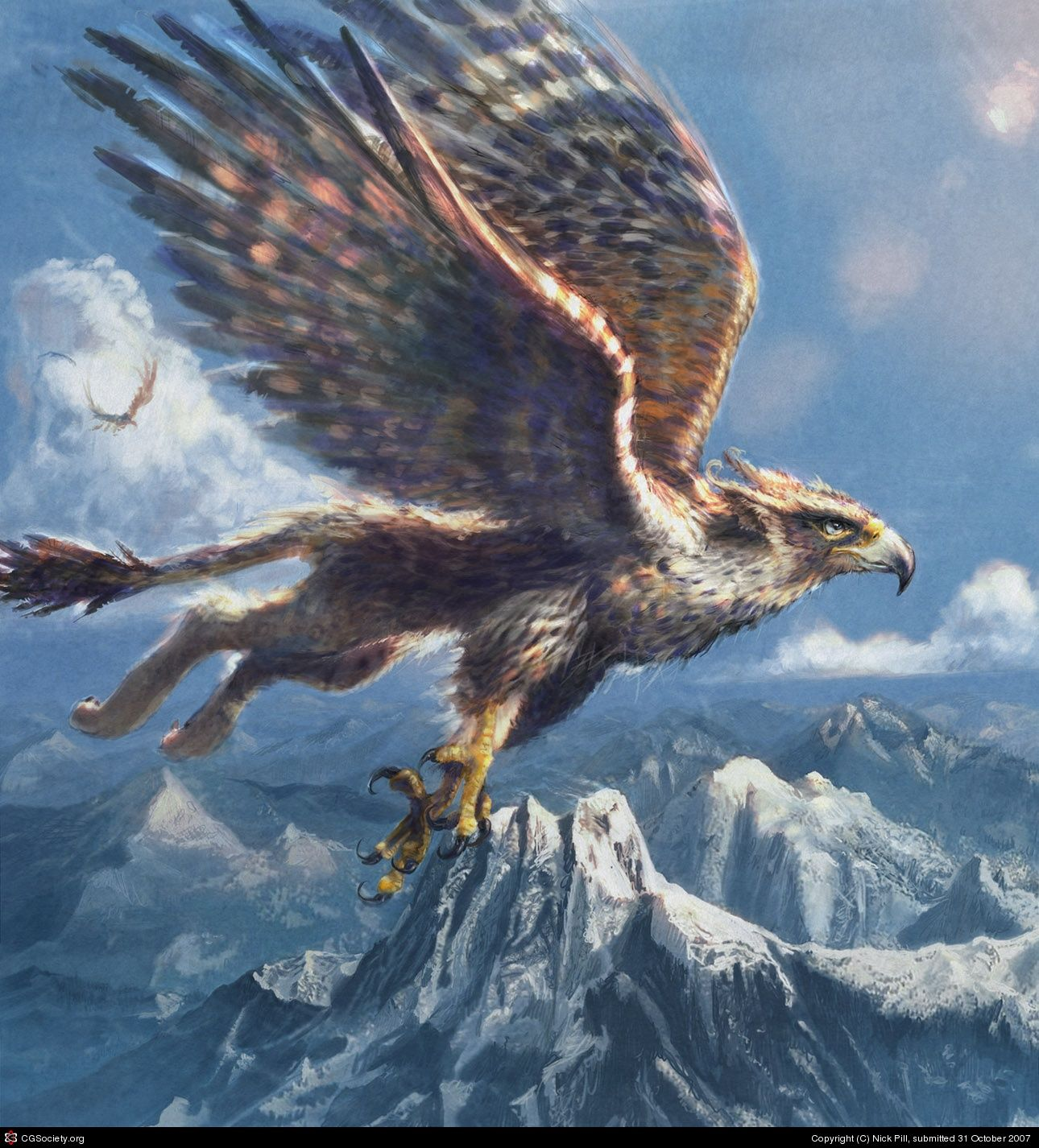 Gryphon By Nick Pill 2d Cgsociety Fantasy Creatures Mythical Creatures Fantasy Monster
