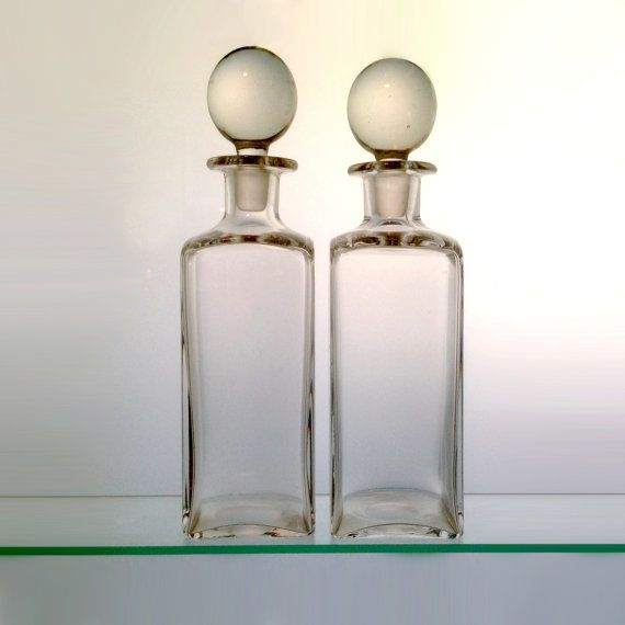 Vintage Glass Decanter matched pair vintage barware by artizmo