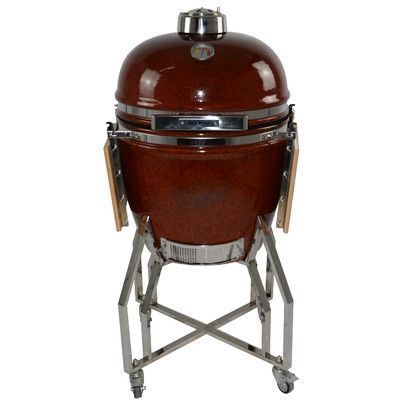 "All-Pro KAMADO 19"" Charcoal Grill with Cart Finish: Autumn Red"