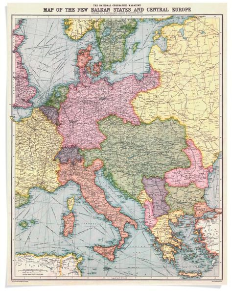 A 1914 National Geographic map of Central Europe | Maps in 2018 ...