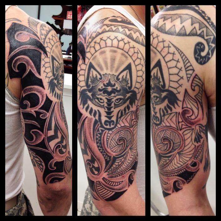 Motif tattoo loup sur le bras pour homme pinteres - Tatouage bras homme tribal ...