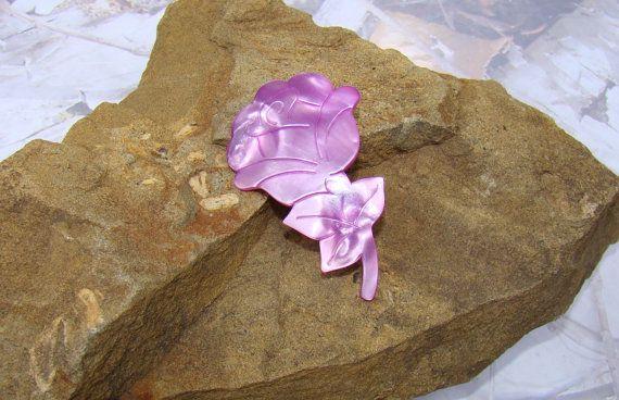 Vintage Purple Mauve France Flower Brooch Shimmers in the Light Lovely Color Purple Brooch