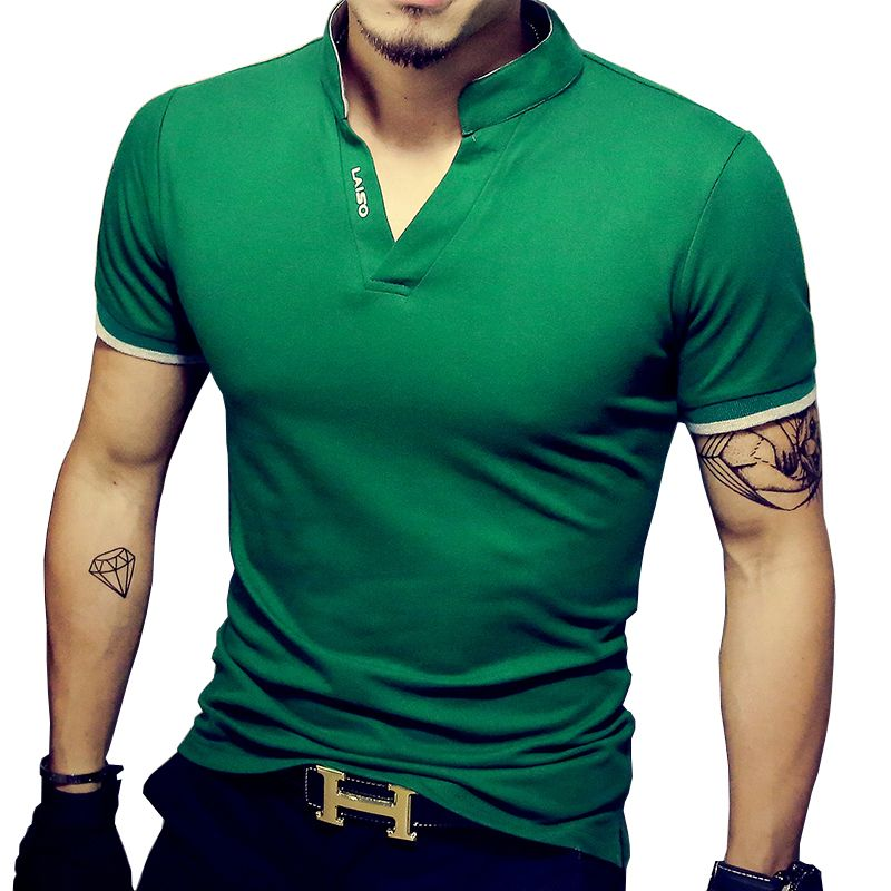 Image result for camisetas verde polo con cuello chino