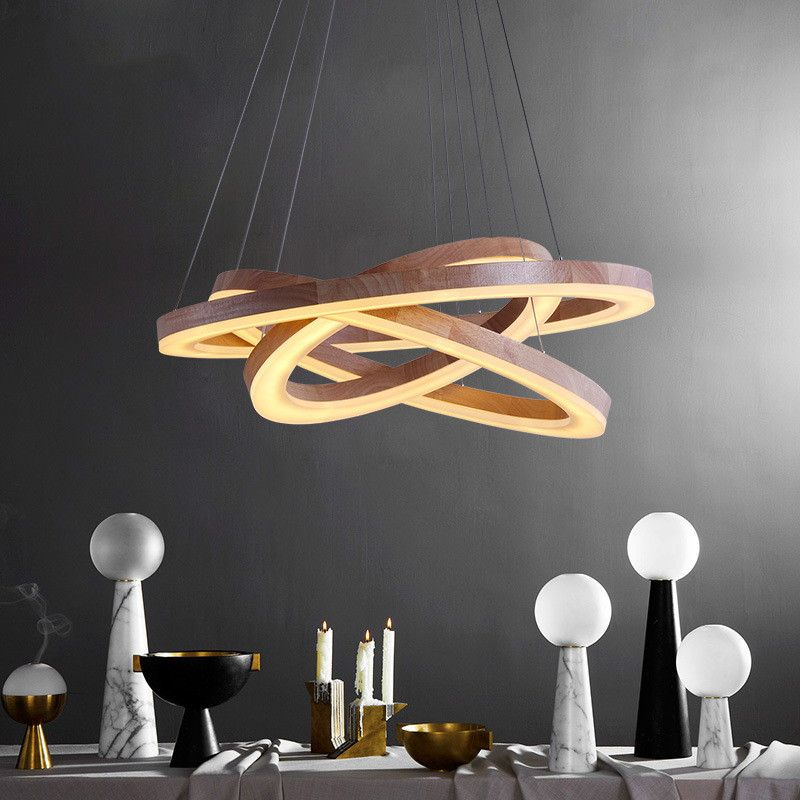 Modern wood light led living dining room pendant lights for Suspension luminaire ronde