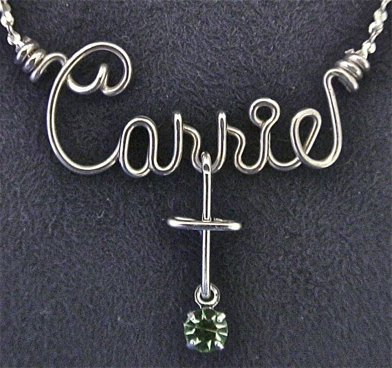 Personalized Silver Name Necklace or Anklet w/Charm & by enames2u