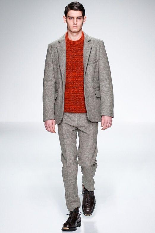 Men's Grey Wool Blazer, Red Crew-neck Sweater, Grey Wool Dress ...