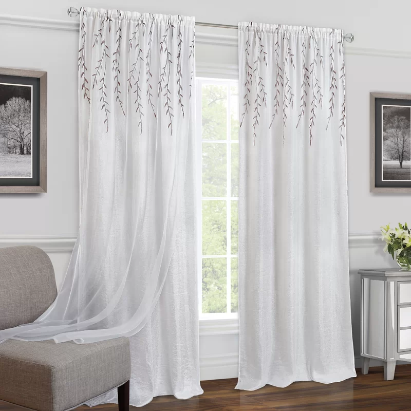 Hadlee Solid Semi Sheer Rod Pocket Single Curtain Panel White Paneling Panel Curtains Curtains