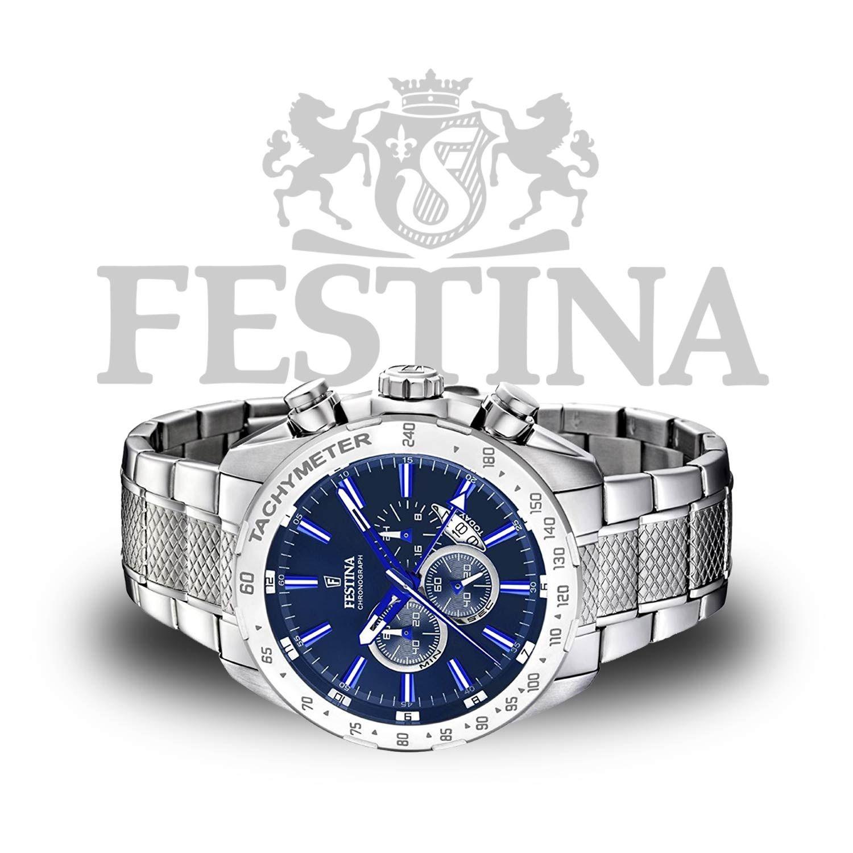 Festina  Chronograph F16488 B aus Edelstahl in Silber   Blau mit Tachymeter  und 90c6e70911