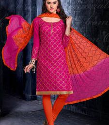 4a39c9c73c cotton salwar kameez Buy Pink Chanderi embroidered unstitched salwar with  dupatta dress-material online