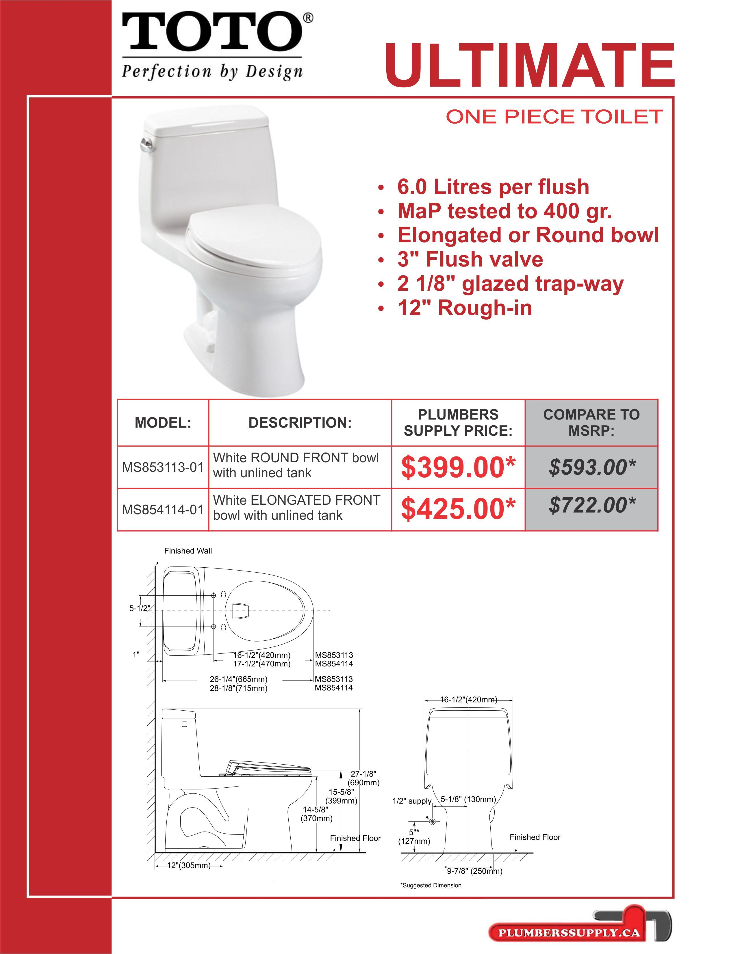TOTO Ultimate Toilet, White, Round Front on sale from $399 ...