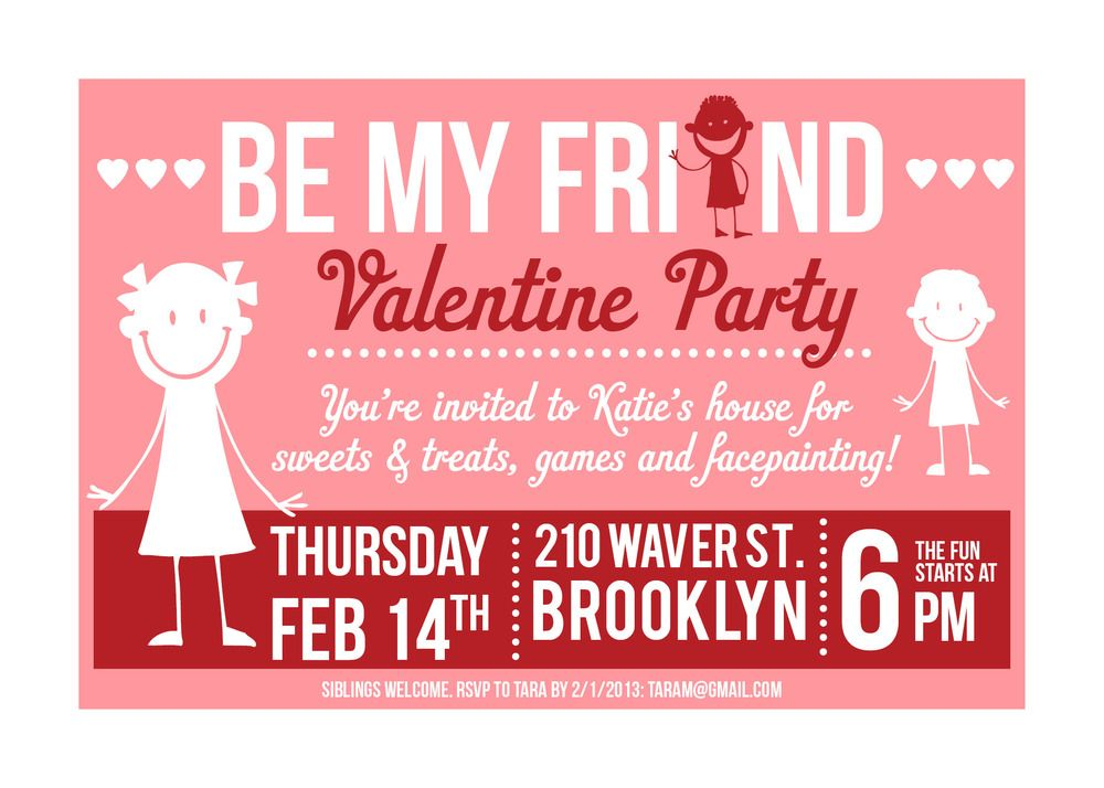 Kids Valentine\'s Day Party Invitation - Be My Friend. To see more of ...