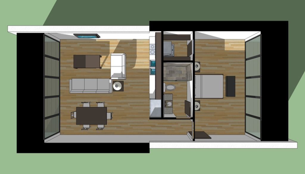 Contemporary style house plan 1 beds baths 756 sq for 700 square feet house