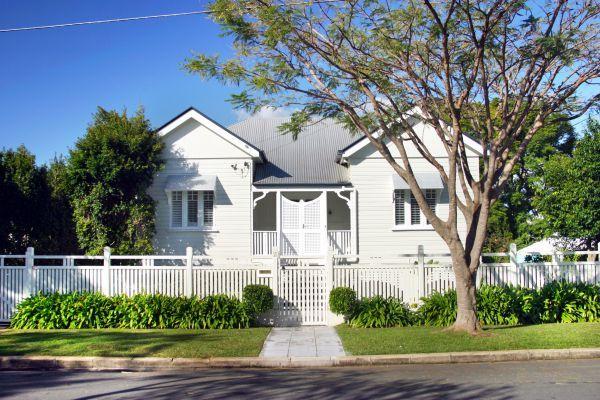 White with dark grey trims please queenslander homes for Queenslander exterior colour schemes