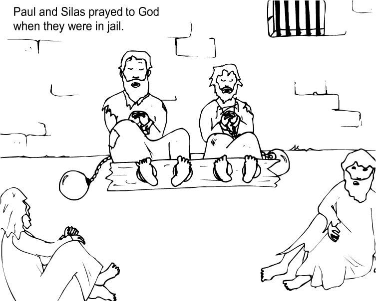 Paul And Silas Prayed In Jail Paul And Silas Coloring Pages