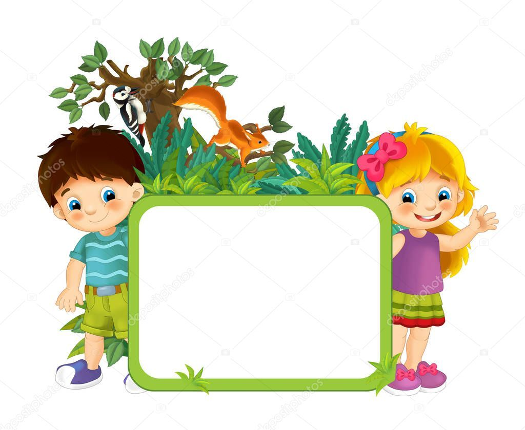Cartoon Scene With Nature Frame Kids And Animals Illustration For Children Animal Illustration Children Illustration Nature Illustration