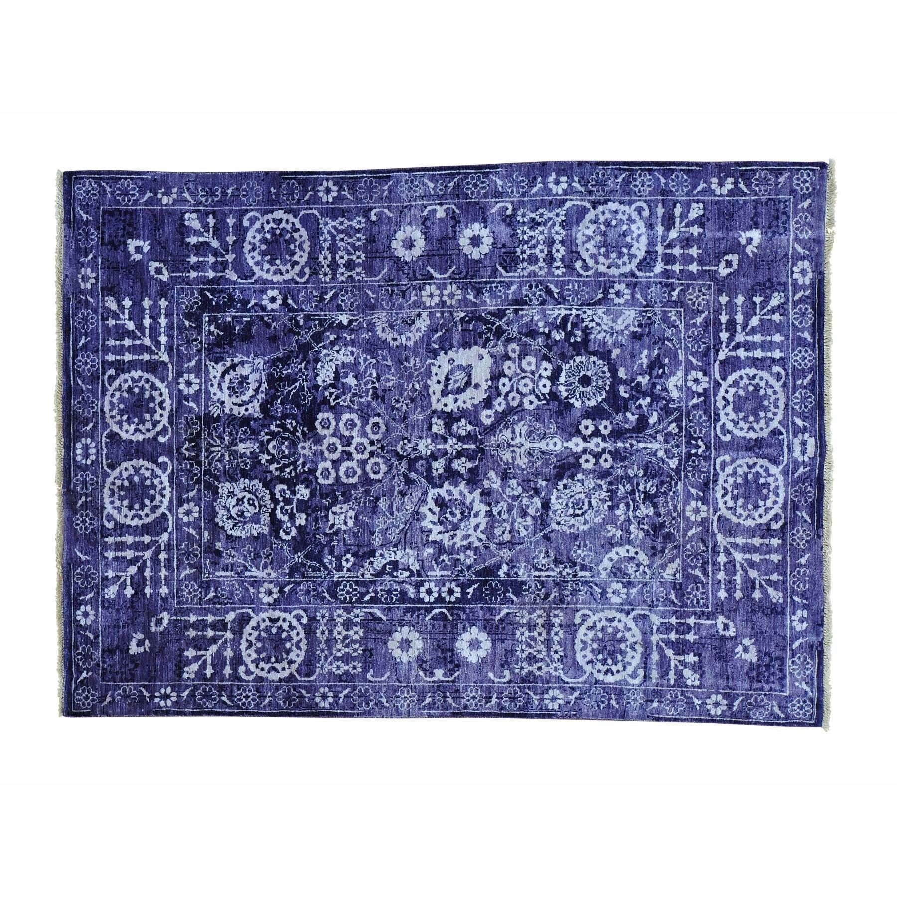 "1800getarug Transitional Tabriz Wool and Viscose From Bamboo Handmade Rug (4'10 x 6'8) (Exact Size: 4'10"" x 6'8""), Purple, Size 5' x 7' (Rayon from Bamboo, Oriental)"