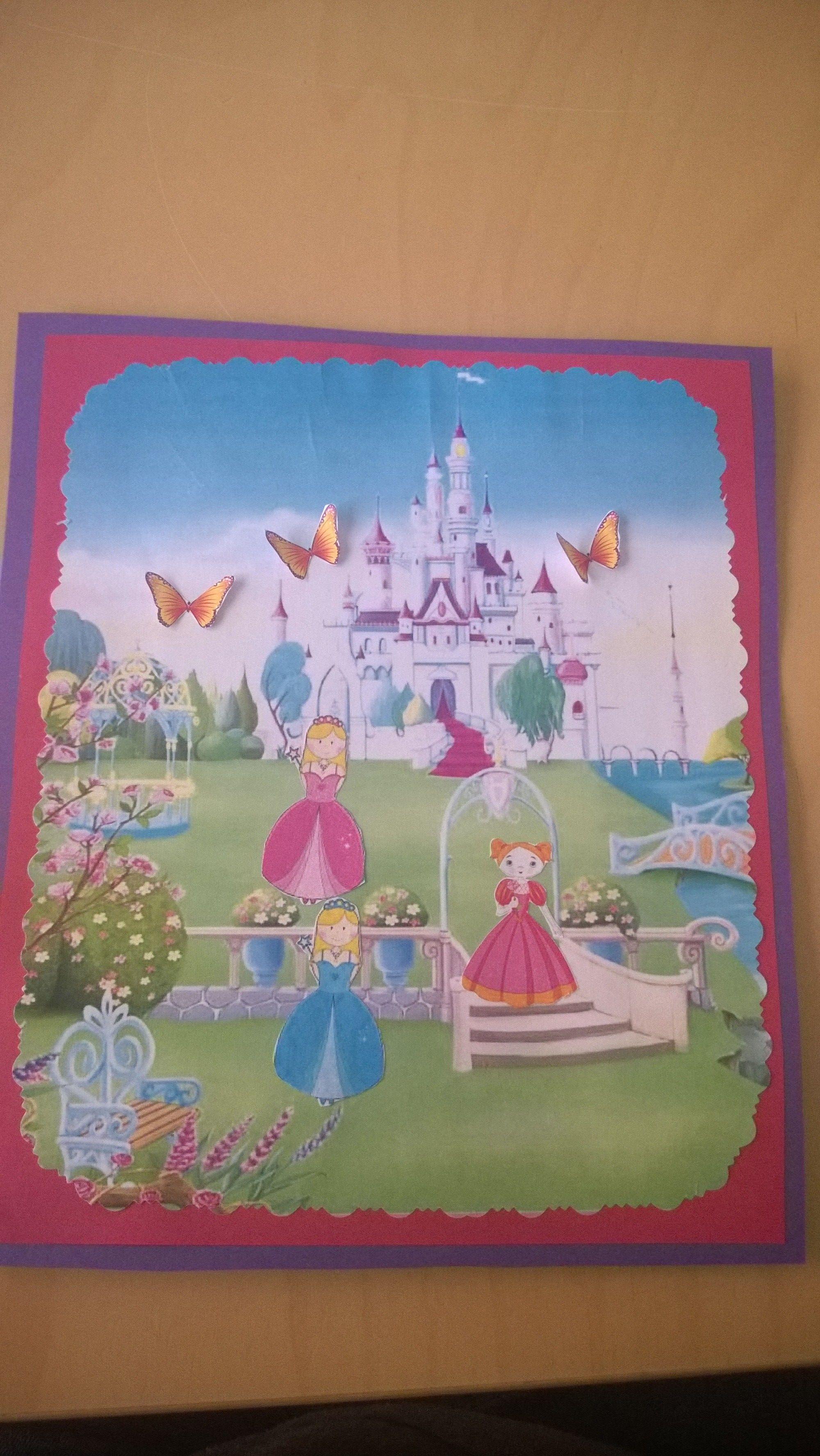 Prinsessa aiheinen kortti kolmi vuotiaalle.
