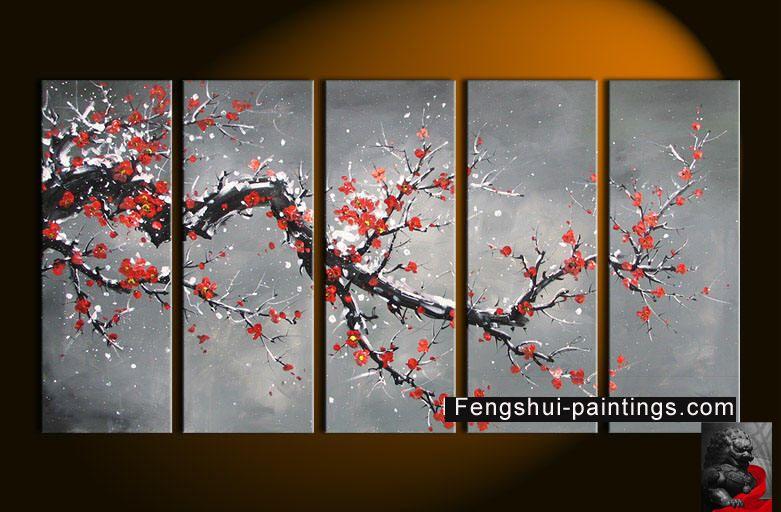 281 Feng Shui Plum Blossom Paintings Jpg 781 512 Cherry Blossom Painting Flower Painting Canvas Painting