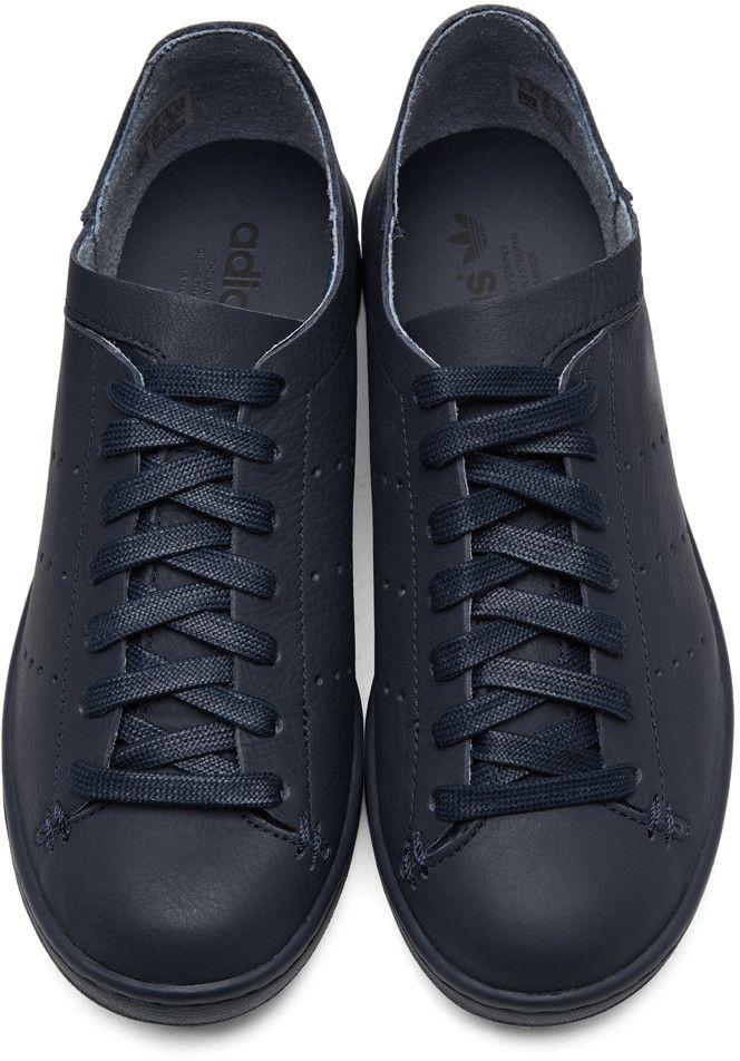 online store 65e68 dcb8e adidas Originals - Navy Stan Smith Lea Sock Sneakers