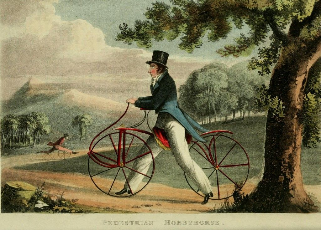 1819: What is Your Hobby (the hobby horse/dandy horse/pedestrian curricle) via Georgian Gentleman