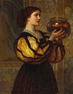 Charles Edward Perugini (pintor britânico) 1839 - 1918The bacia do Goldfish, ca.  1870oil em canvas39 & frac12;  X 31 & frac14;  pol. (100,4 x 79,3 cm.) coleção particular