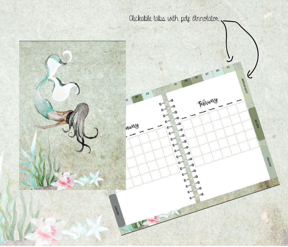 Digital Planner For Pdf Annotator Apps Mermaid Calendar Jotting