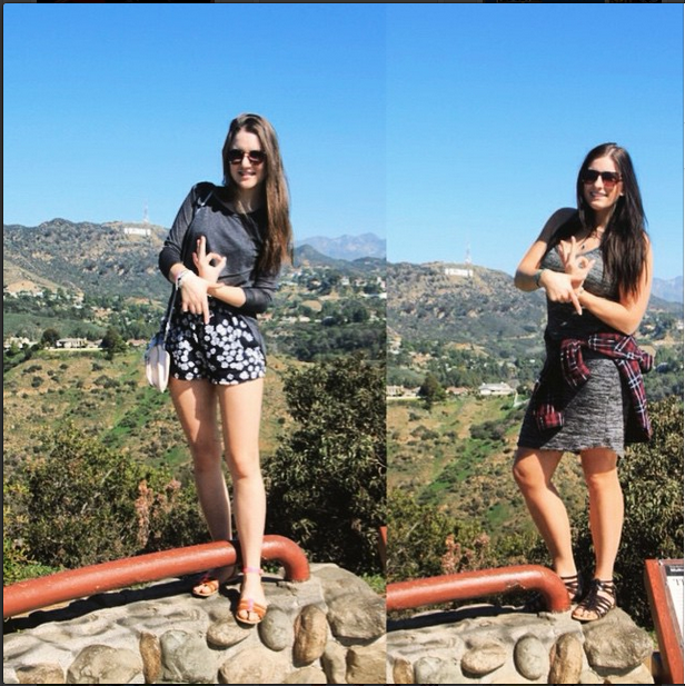 Alpha Gamma sisters throwing what they know in Los Angeles in front of the Hollywood sign.
