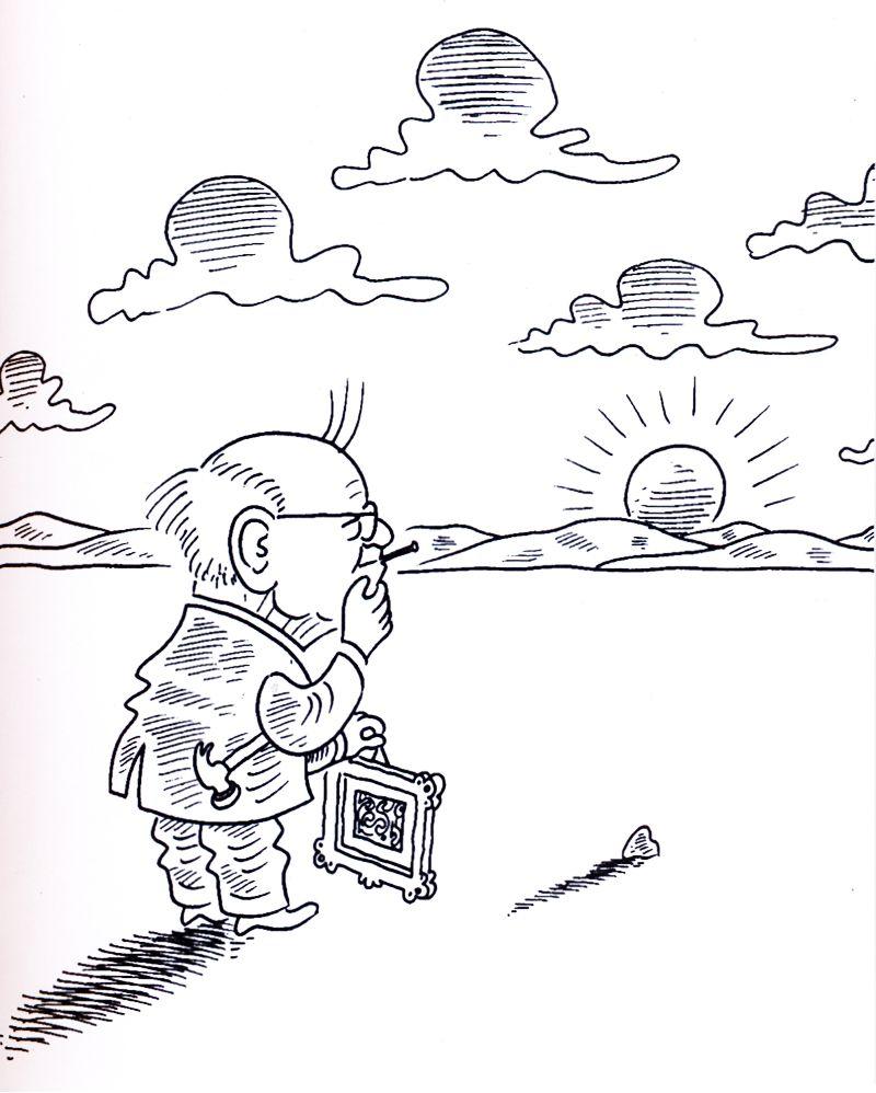 Mario Quintana desenhado pelo cartunista Santiago