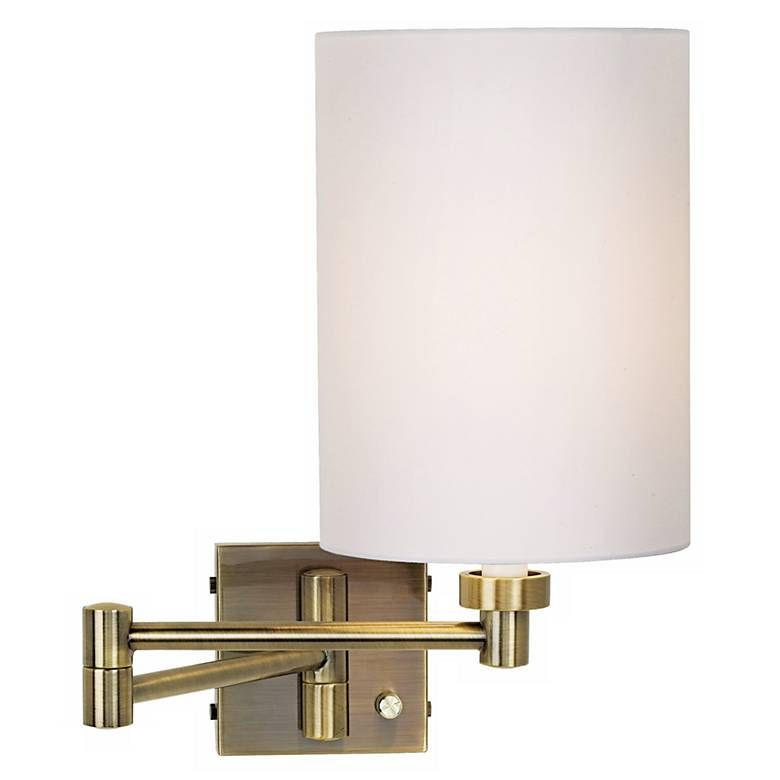 White Cylinder Shade Antique Brass Swing Arm Wall Lamp 57w30 Lamps Plus Swing Arm Wall Lamps Wall Lamp Design Wall Lamp
