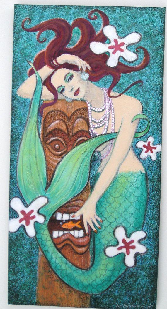 Mermaid & Tiki art painting original acrylic by Sue Halstenberg